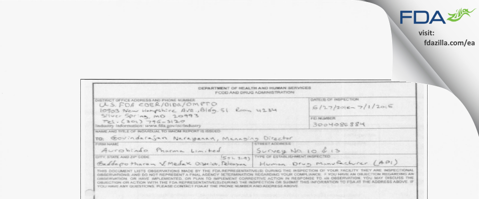 Aurobindo Pharma Limited Unit-VIII FDA inspection 483 Jul 2016