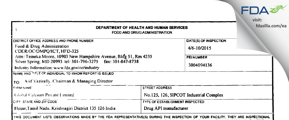 Global Calcium FDA inspection 483 Apr 2015