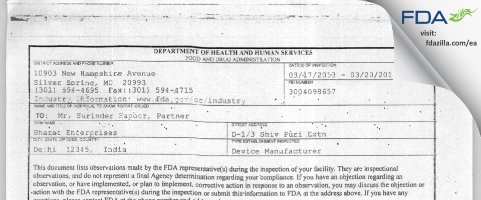 Bharat Enterprises FDA inspection 483 Mar 2013