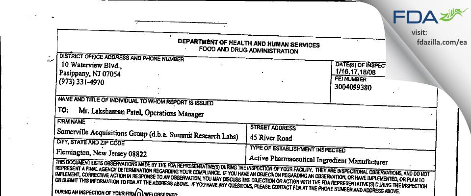 Somerville Acquisitions FDA inspection 483 Jan 2008