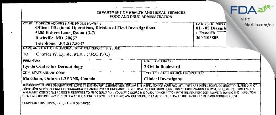 Charles W. Lynde FDA inspection 483 Dec 2003