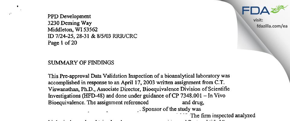 PPD Development FDA inspection 483 Aug 2003