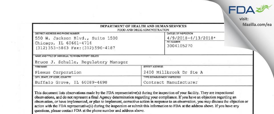 Plexus FDA inspection 483 Apr 2018
