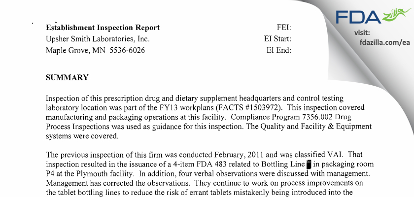 Upsher Smith Labs FDA inspection 483 Mar 2013