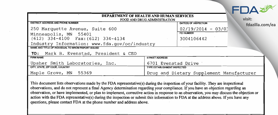 Upsher Smith Labs FDA inspection 483 Mar 2014