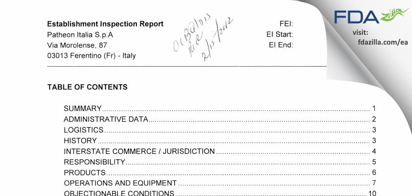 Patheon Italia S.P.A. FDA inspection 483 May 2011