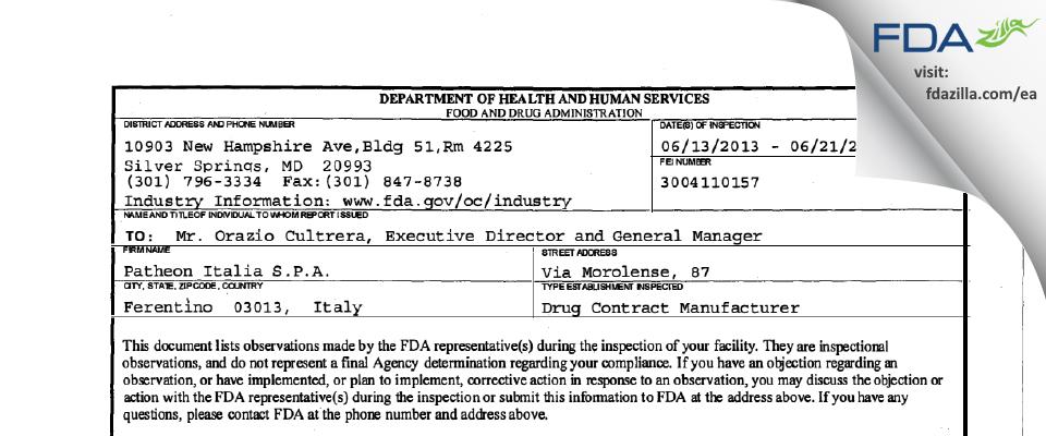 Patheon Italia S.P.A. FDA inspection 483 Jun 2013
