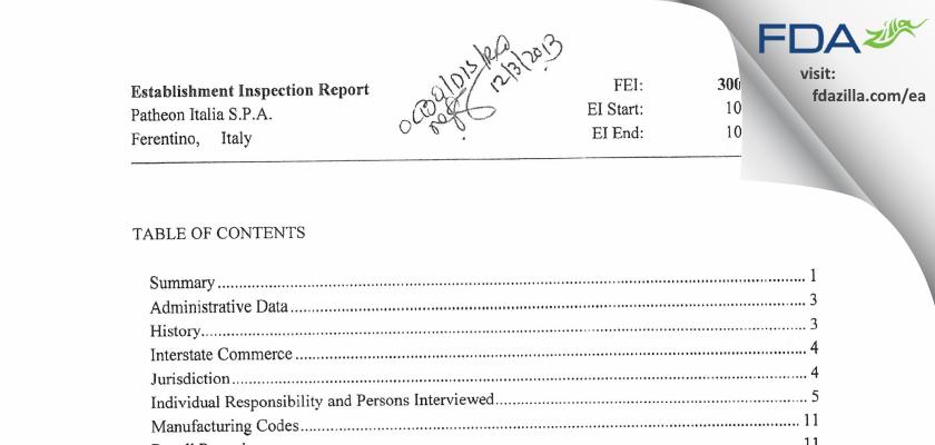 Patheon Italia S.P.A. FDA inspection 483 Oct 2013