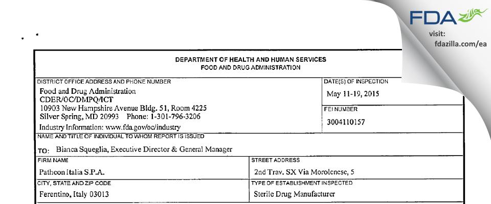 Patheon Italia S.P.A. FDA inspection 483 May 2015