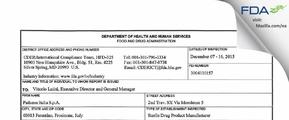Patheon Italia S.P.A. FDA inspection 483 Dec 2015