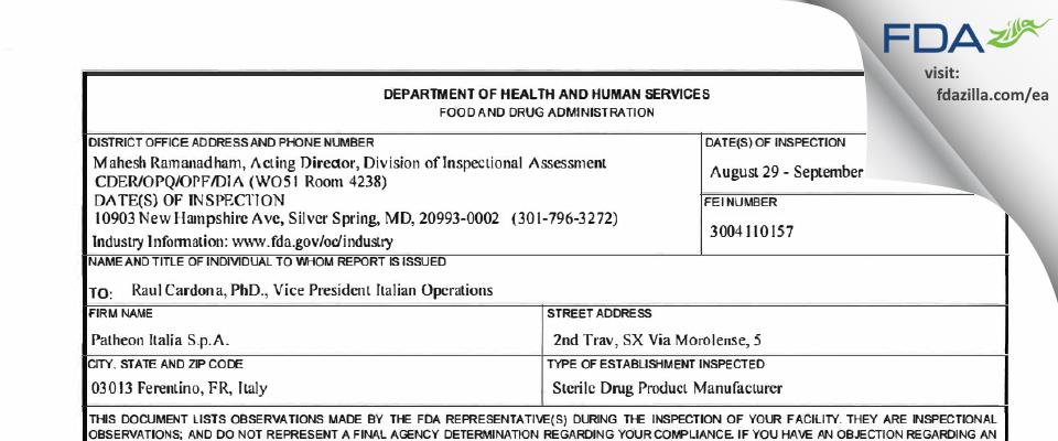 Patheon Italia S.P.A. FDA inspection 483 Sep 2016