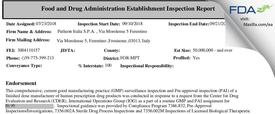 Patheon Italia S.P.A. FDA inspection 483 Sep 2018