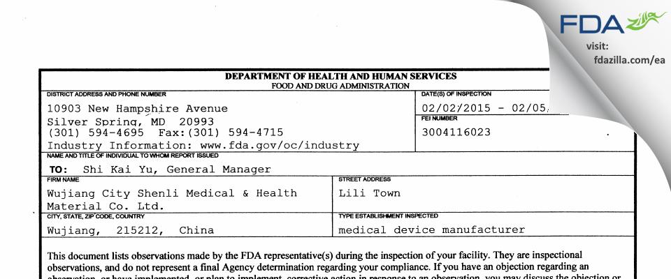 Wujiang City Shenli Medical & Health Material FDA inspection 483 Feb 2015