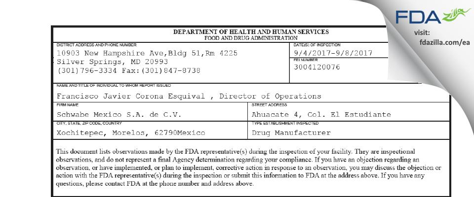 Schwabe Mexico de C.V. FDA inspection 483 Sep 2017
