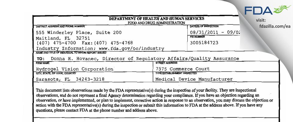 Hydrogel Vision FDA inspection 483 Sep 2011