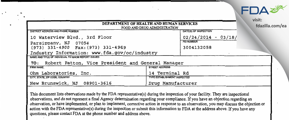 Ohm Labs FDA inspection 483 Mar 2014