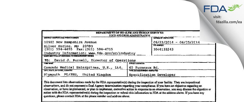 Cascade Medical Enterprises, U.K. FDA inspection 483 Jun 2014