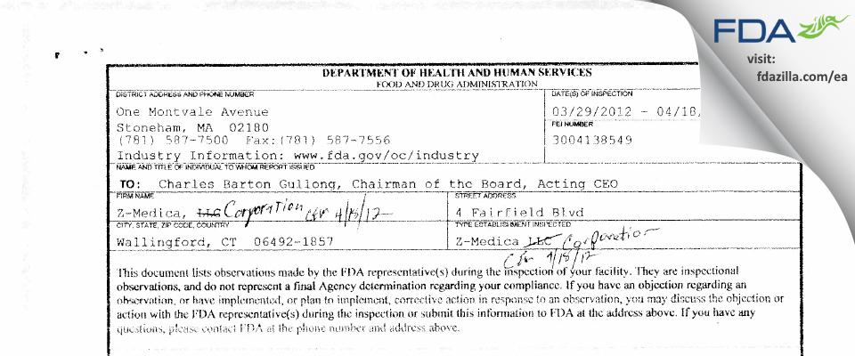 Z-Medica FDA inspection 483 Apr 2012