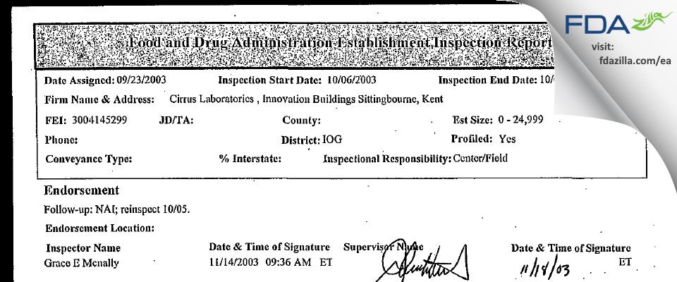 Cirrus Labs FDA inspection 483 Oct 2003