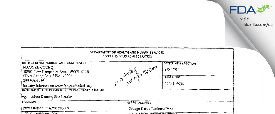 Pfizer Ireland Pharmaceuticals FDA inspection 483 Jun 2014