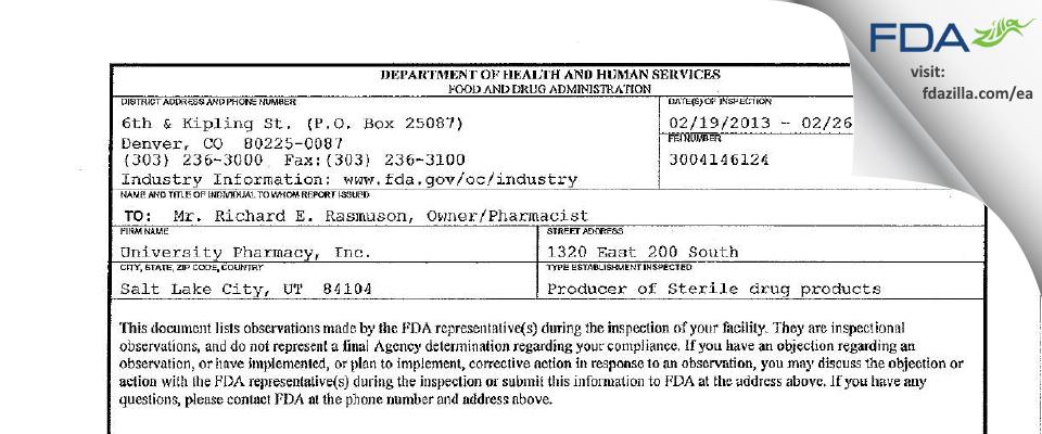 University Pharmacy FDA inspection 483 Feb 2013