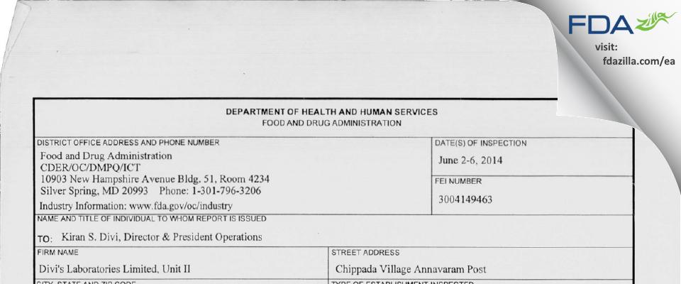 Divi's Labs (Unit II) FDA inspection 483 Jun 2014