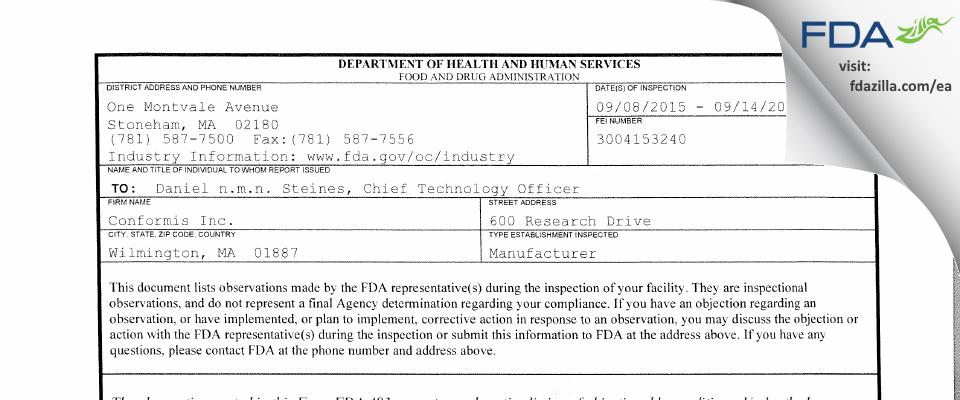 Conformis FDA inspection 483 Sep 2015