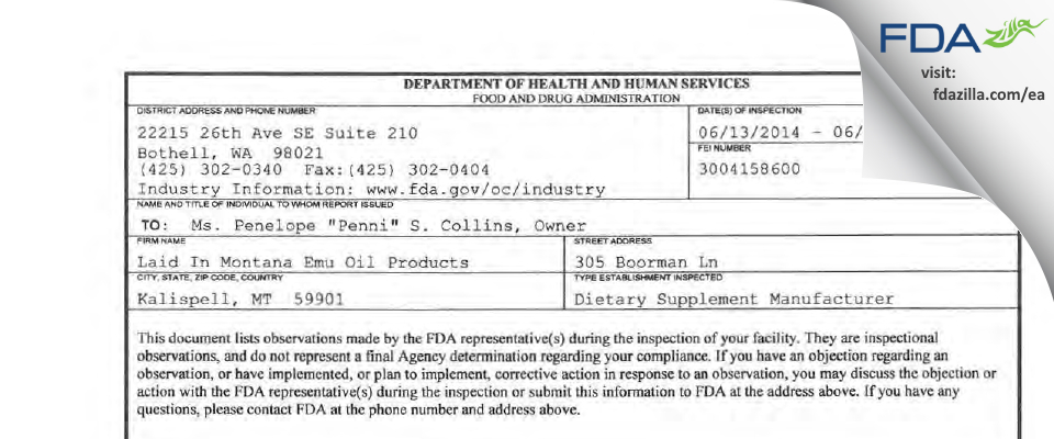 Montana Emu Ranch Company FDA inspection 483 Jun 2014