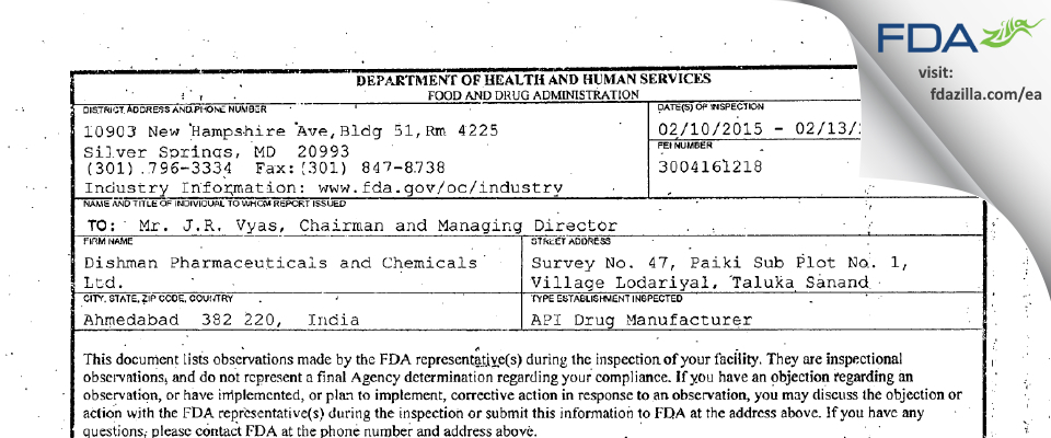 Dishman Pharmaceuticals and Chemicals FDA inspection 483 Feb 2015