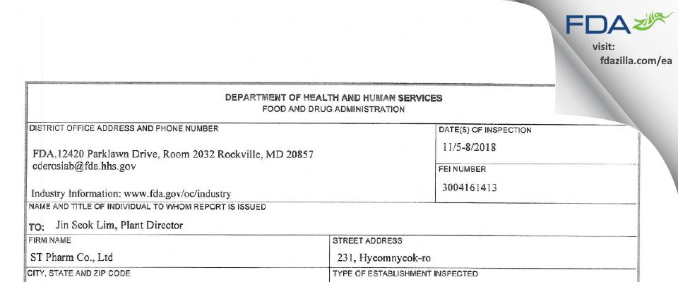 ST Pharm FDA inspection 483 Nov 2018