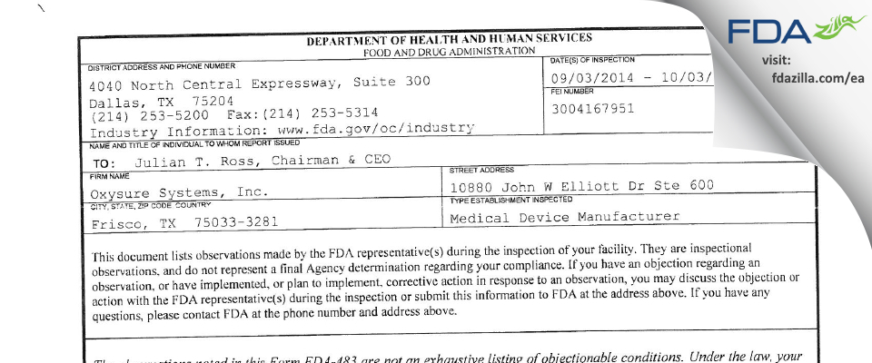 Oxysure Systems FDA inspection 483 Oct 2014