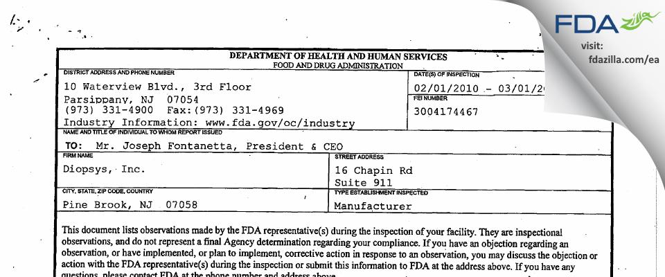 Diopsys FDA inspection 483 Mar 2010
