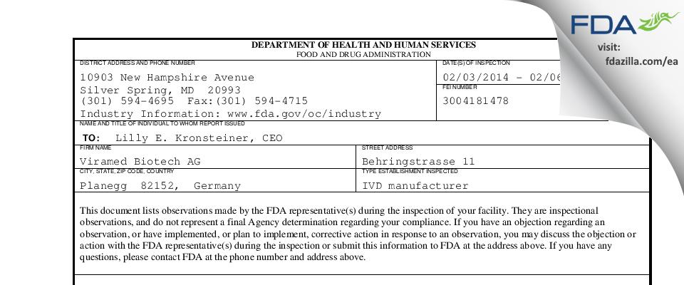 Viramed Biotech AG FDA inspection 483 Feb 2014