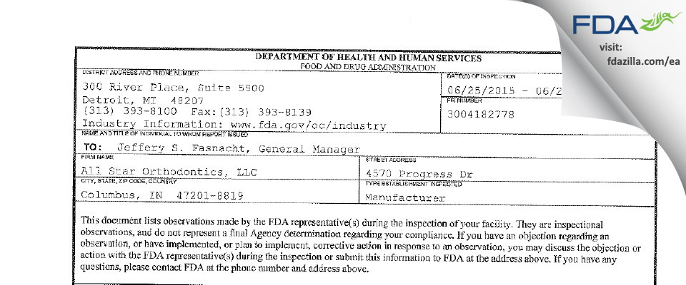 All Star Orthodontics FDA inspection 483 Jun 2015
