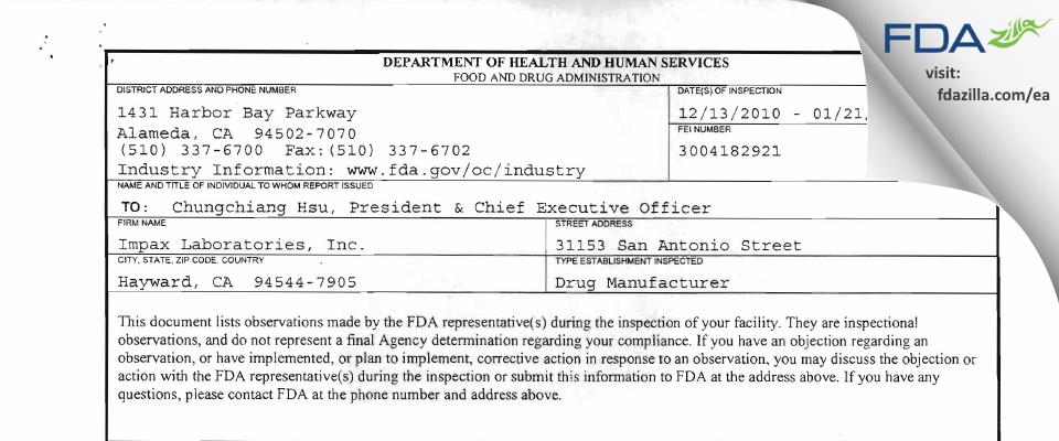 Impax Labs. FDA inspection 483 Jan 2011