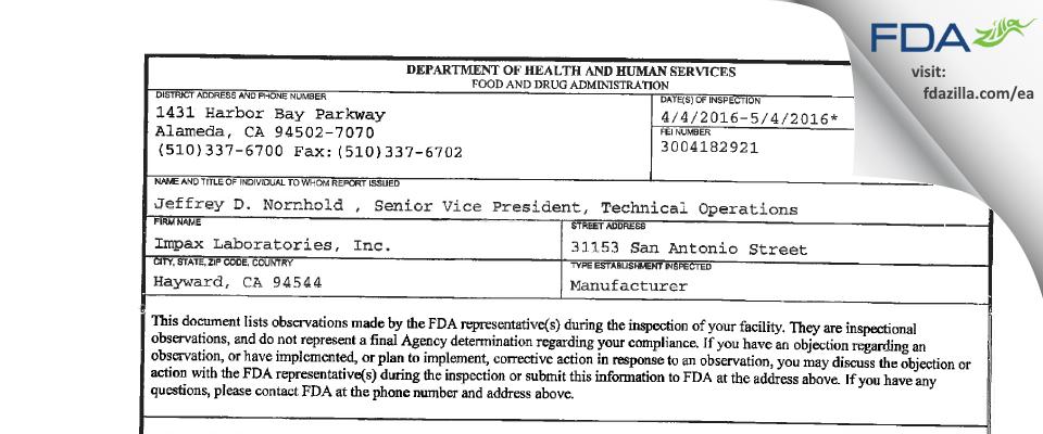 Impax Labs. FDA inspection 483 May 2016