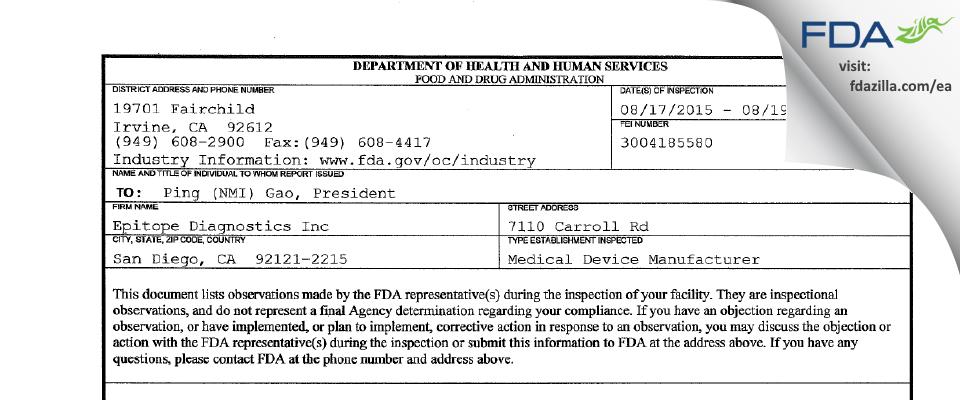 Epitope Diagnostics FDA inspection 483 Aug 2015