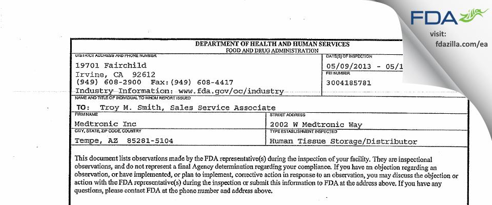 Medtronic FDA inspection 483 May 2013