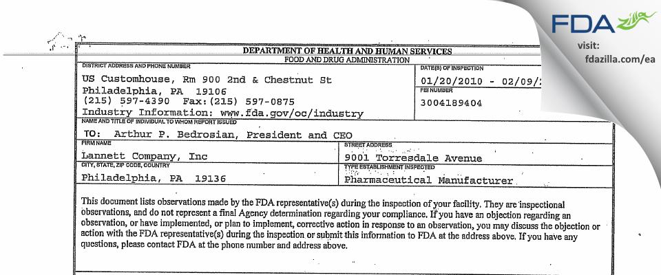 Lannett Company FDA inspection 483 Feb 2010