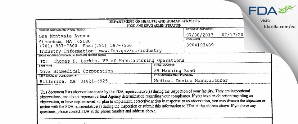 Nova Biomedical FDA inspection 483 Jul 2013