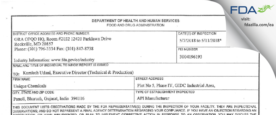 Unique Chemicals FDA inspection 483 May 2018