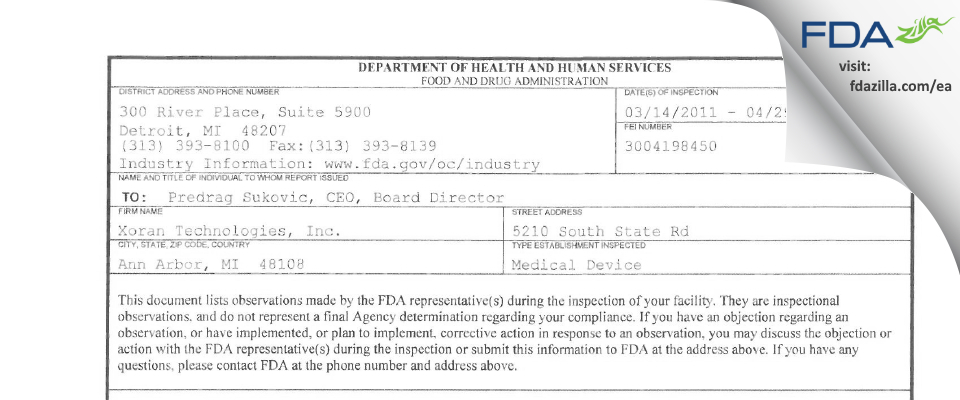 Xoran Technologies FDA inspection 483 Apr 2011