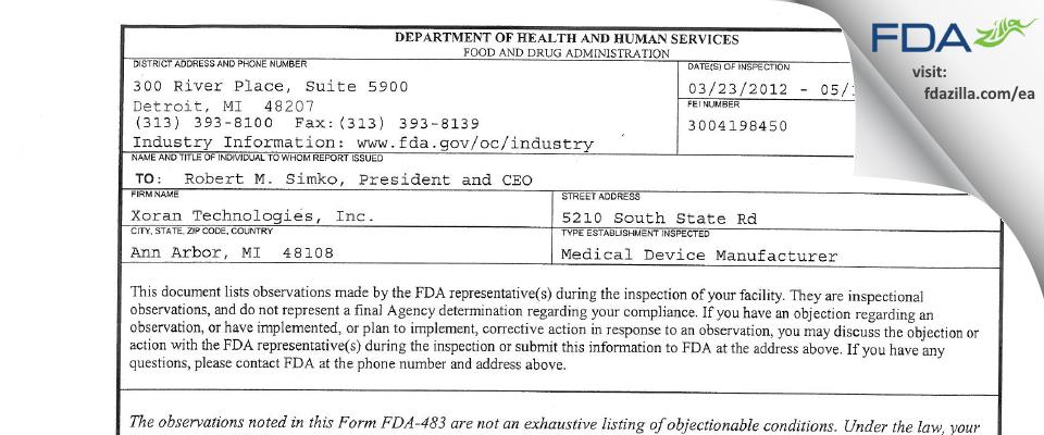 Xoran Technologies FDA inspection 483 May 2012