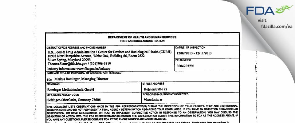 Rominger Medizintechnik FDA inspection 483 Dec 2013