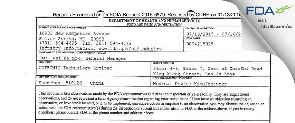 COTRONIC Technology FDA inspection 483 Jul 2015