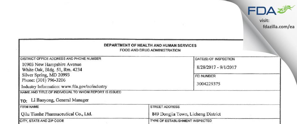 Qilu Tianhe Pharmaceutical FDA inspection 483 Sep 2017