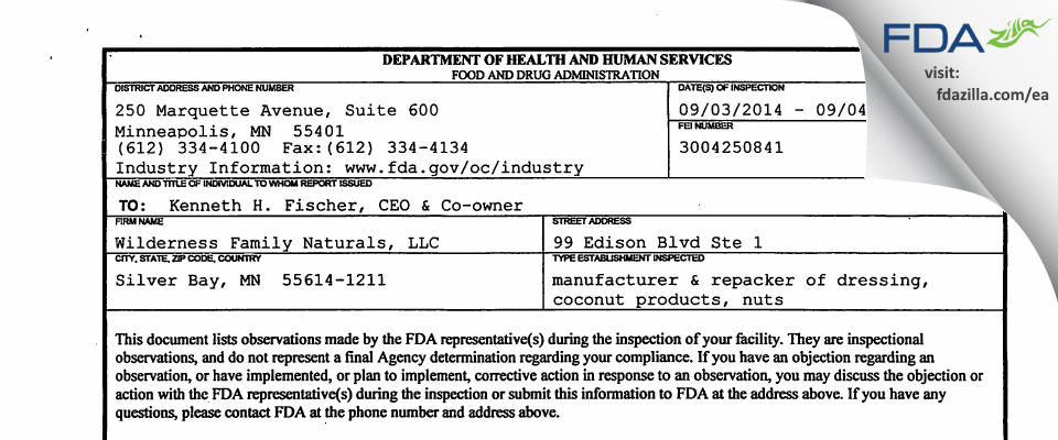 Wilderness Products FDA inspection 483 Sep 2014
