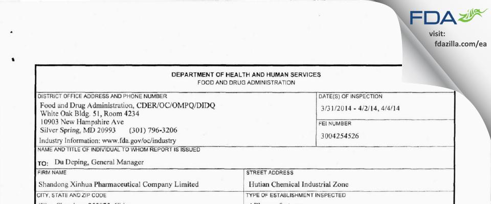 Shandong Xinhua Pharmaceutical Company FDA inspection 483 Apr 2014
