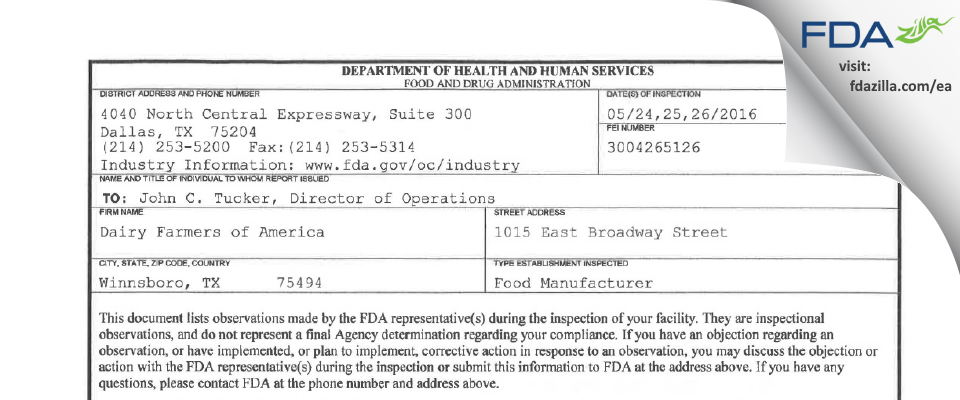 Dairy Farmers of America FDA inspection 483 May 2016