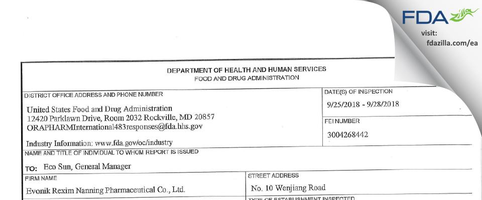Evonik Rexim (Nanning) Pharmaceutical FDA inspection 483 Sep 2018
